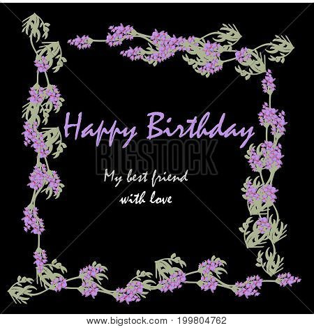 Label with lavender. Bunch of lavender flowers . Botanical illustration. Making gifts of paper and textiles. Vector illustration. Birthday