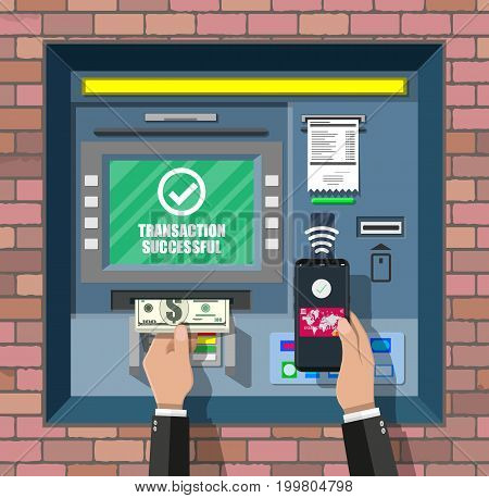 Bank ATM. Automatic teller machine. Program electronic device for payments. Withdrawing money with smartphone by wireless nfc technology. Vector illustration in flat style