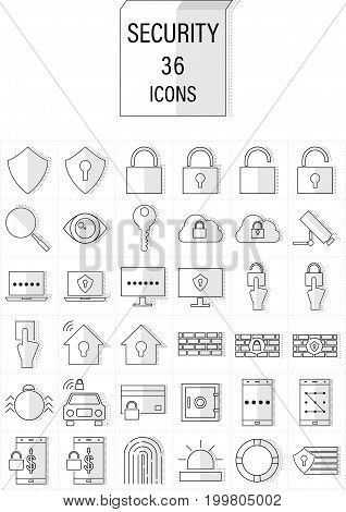 Set of Security Cyber And Hacker Outline Mix Flat Icons With Dotted Line Shadow Effect.Editable Stroke