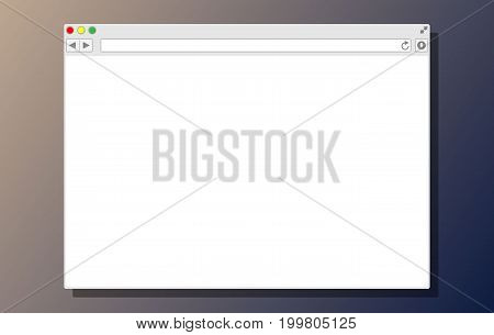 White blank browser window. Operating system user interface. Generic internet browser software. Vector illustration in flat style