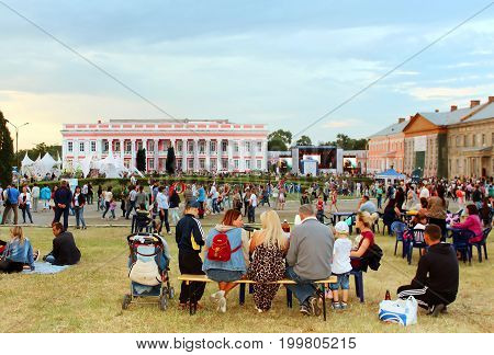 TULCHYN, UKRAINE - JUNE 05, 2017: Unidentified people take part in OperaFestTulchyn international opera open air festival that was held in Tulchyn on the territory of Potocki Palace, Vinnytsia region, Ukraine