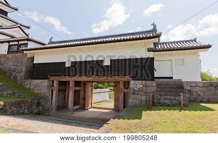 SHIRAKAWA JAPAN - JUNE 2 2017: Reconstructed Main Gate of Shirakawa (Komine) Castle Japan. Castle was founded in 1340 rebuilt in 1627 destroyed in war of 1868 and reconstructed in 1991