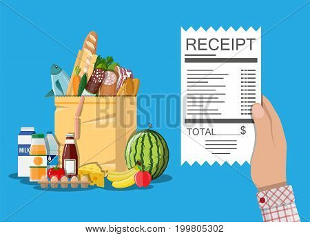 Hand with receipt. Shopping paper bag with food and drinks. Vector illustration in flat style