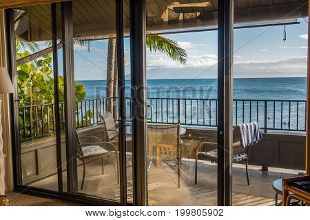 A room looks out to the sea in Maui Hawaii.