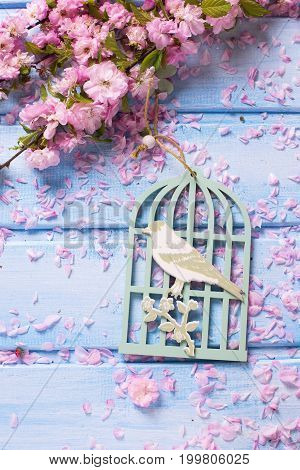 Background with decorative cage with bird and elegant pink flowers on blue wooden planks. Selective focus.