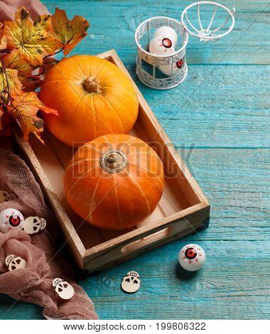 Halloween pumpkins, wooden skulls, , eyeballs