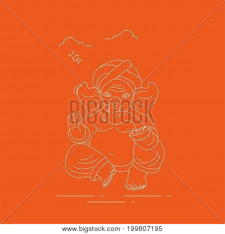 Vector line art or linear illustration of Hindu god lord Ganesha also known as Ganapati Vinayaka and Binayak