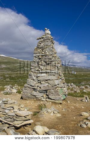 Large stone tower at the polar circle in Norway.