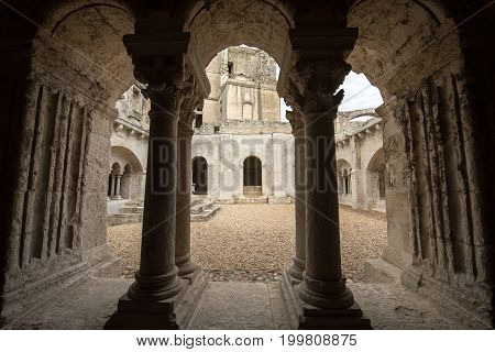 Cloisters in the Abbey of St. Peter in Montmajour near Arles France