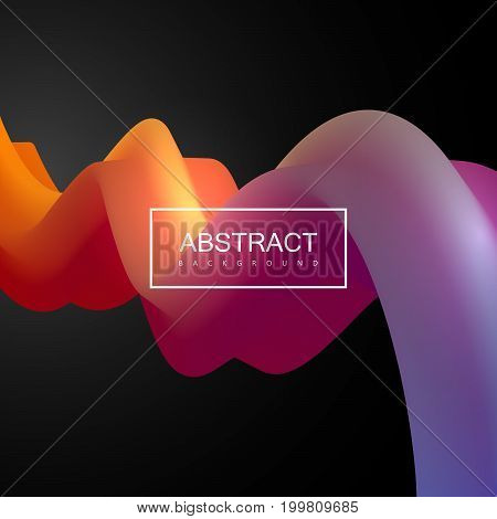 Abstract 3d colorful shape. Vector artistic illustration. Vibrant gradient stream. Liquid fluid color path. Creativity concept. Visual communication poster design