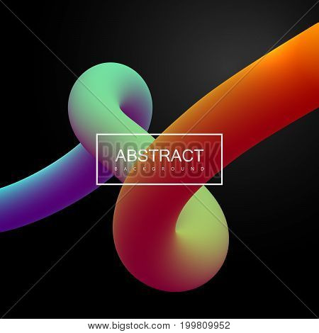 Abstract 3d colorful curved line. Vector artistic illustration. Vibrant gradient bended stream. Liquid fluid color path. Creativity concept. Visual communication poster design