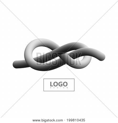 Abstract 3d knotted stripe. Vector artistic illustration. Monochrome gradient shape. Liquid color path. Creativity concept. Visual communication poster design. Figure eight tied knot. Logo design