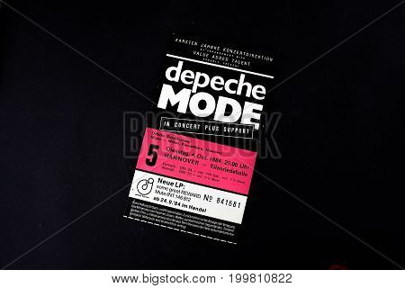 An image of a concert ticket from Depeche Mode - Editorial - Hannover/Germany - 12/04/1984