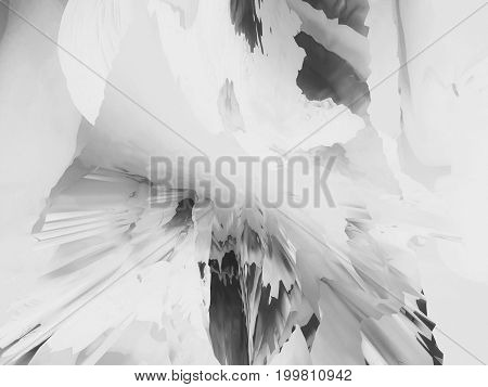 Background of glitch manipulations with 3D effect. Abstract monochrome flow of glass texture. It can be used for web design printed products and visualization of music.