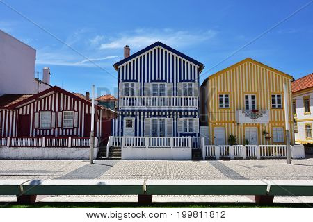 Striped Colored Houses, Costa Nova, Beira Litoral, Portugal, Europe