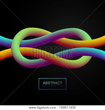 Abstract 3d colorful smooth knotted lines. Vector artistic illustration. Vibrant gradient shapes. Liquid color paths. Creativity concept. Visual communication poster design. Tied knot shape