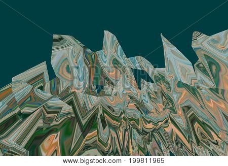 Background of glitch manipulations with 3D effect. Abstract landscape with sharp peaks in green and terracotta shades. It can be used for web design and visualization of music.