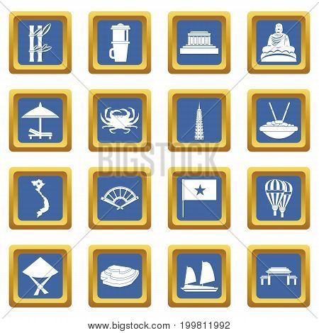 Vietnam travel icons set in blue color isolated vector illustration for web and any design