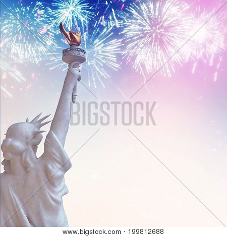 Statue of Liberty with July 4 Fireworks in Patriotic USA colors.