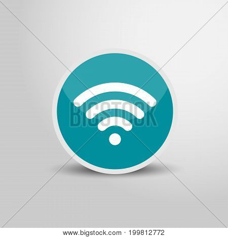 Wifi icon in circle. Wifi sign 3D round circle icon. Vector stock.