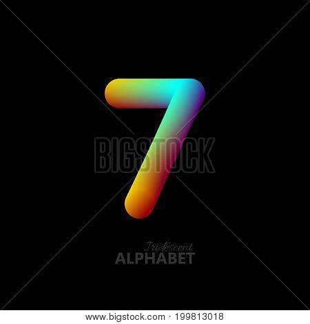 3d iridescent gradient number 7. Typographic minimalistic element. Vibrant gradient shape. Liquid color path. Creativity concept. Visual communication poster design. Figure seven. Vector illustration