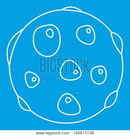 Alone plane icon blue outline style isolated vector illustration. Thin line sign
