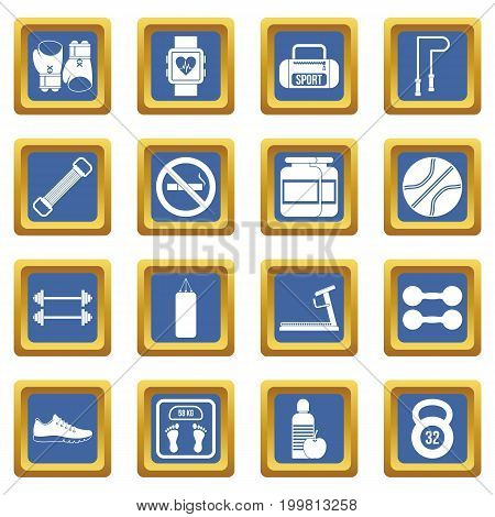 Gym icons set in blue color isolated vector illustration for web and any design