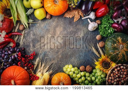 Happy Thanksgiving Day background, a table decorated with pumpkins, corn and autumn leaves. Beautiful autumn festival scene festival-autumn harvest.