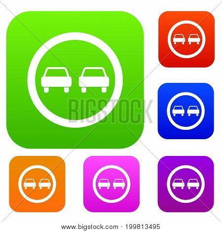 No overtaking road traffic sign set icon in different colors isolated vector illustration. Premium collection