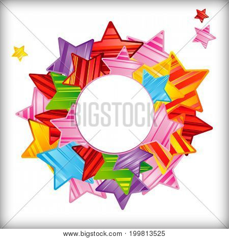 Colorful striped stars background, abstract design pattern, bright elements on a white background.