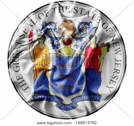 Ruffled waving United States New Jersey Seal flag