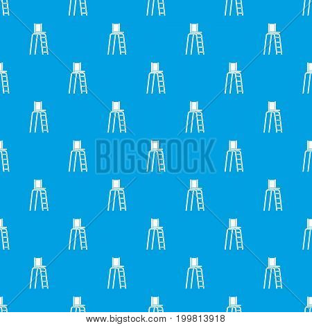 Tennis tower for judges pattern repeat seamless in blue color for any design. Vector geometric illustration