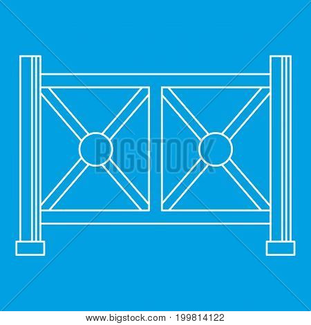 Metal fence icon blue outline style isolated vector illustration. Thin line sign