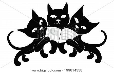 Three black cats read a magazine isolated on a white background