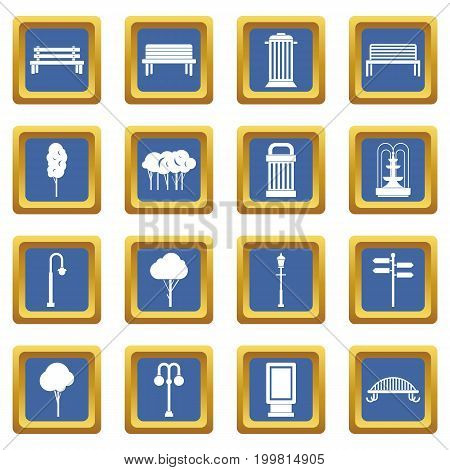 Park icons set in blue color isolated vector illustration for web and any design