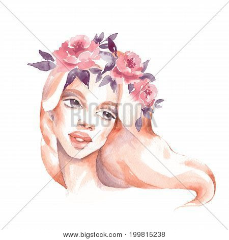 Girl in wreath. Romantic watercolor illustration. Female face watercolor painting