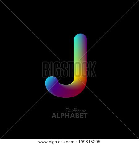 3d iridescent gradient letter J. Typographic minimalistic element. Vibrant gradient shape. Liquid color path. Creativity concept. Visual communication poster design. Vector illustration. Logo template