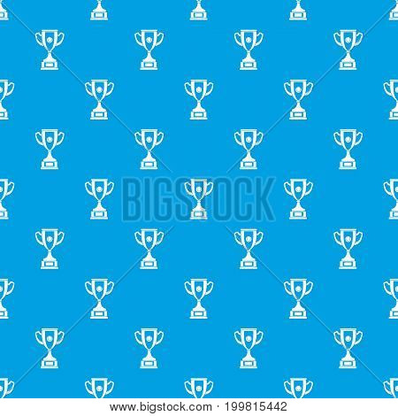 Gold cup pattern repeat seamless in blue color for any design. Vector geometric illustration