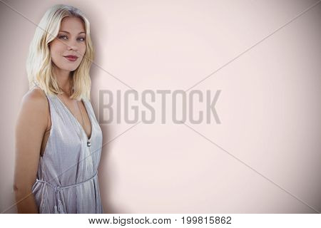 Portrait of beautiful blonde women  against neutral background