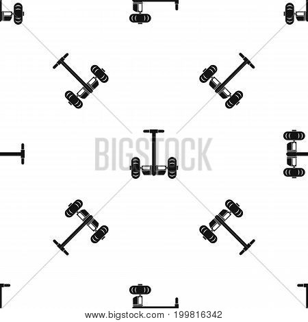 Two wheeled battery powered electric vehicle pattern repeat seamless in black color for any design. Vector geometric illustration