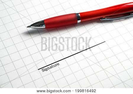 Signing a business contract, legal agreement or rental for apartment. Get hired and employed for new job and work. Offer for collaboration or deal. Pen and signature line on paper.