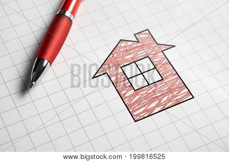 Real estate and selling or buying homes concept. Apartment for sale. Pen, paper and drawing of house.