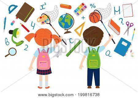 girl and boy catches of school supplies  - vector illustration, eps