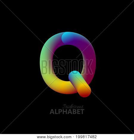 3d iridescent gradient letter Q. Typographic minimalistic element. Vibrant gradient shape. Liquid color path. Creativity concept. Visual communication poster design. Vector illustration. Logo template