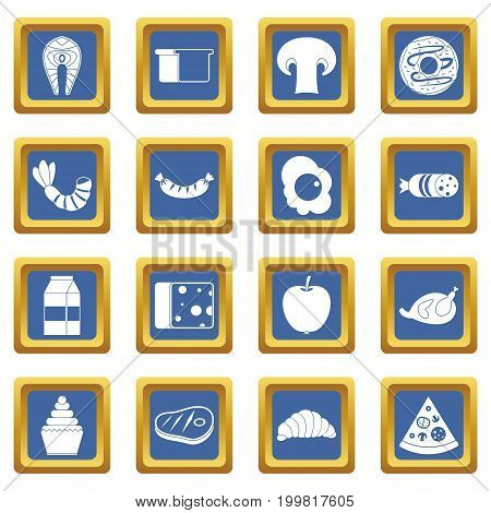 Food icons set in blue color isolated vector illustration for web and any design