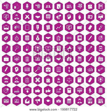100 finance icons set in violet hexagon isolated vector illustration