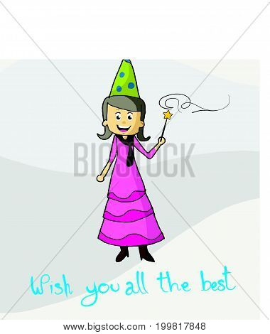 Happy birthday  postcard with angel and pixie dust vector illustration