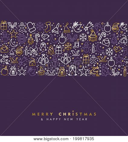 Christmas And New Year Gold Icon Greeting Card