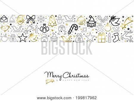 Christmas And New Year Gold Line Art Greeting Card