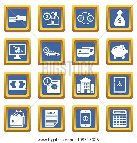 Credit icons set in blue color isolated vector illustration for web and any design